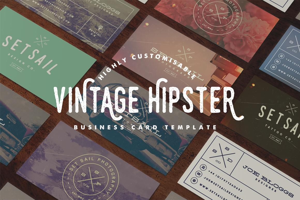 Set Sail Studios Vintage Hipster Business Card Mockup